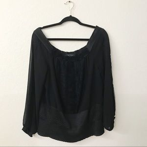 WHBM Black Off Shoulder Chiffon Blouse